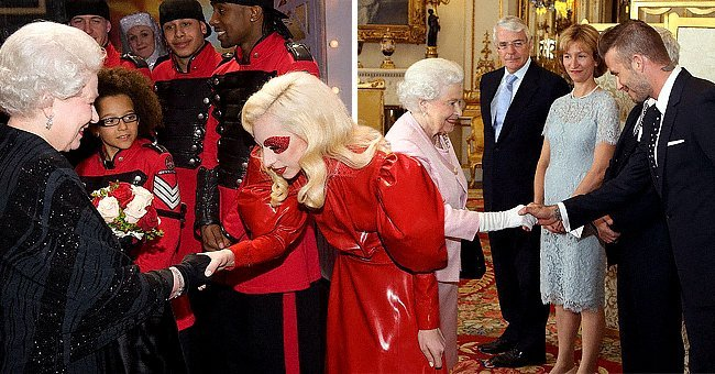 Queen Elizabeth meeting Lady Gaga and David Beckham   Photo: Getty Images