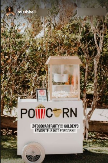 A popcorn cart at the venue of Nick Cannon's son Golden's 4th birthday party   Photo:Instagram/missbell