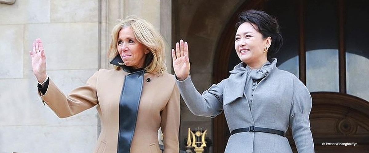 Brigitte Macron touche très gentiment la première dame de Chine après la visite de l'Opéra Garnier
