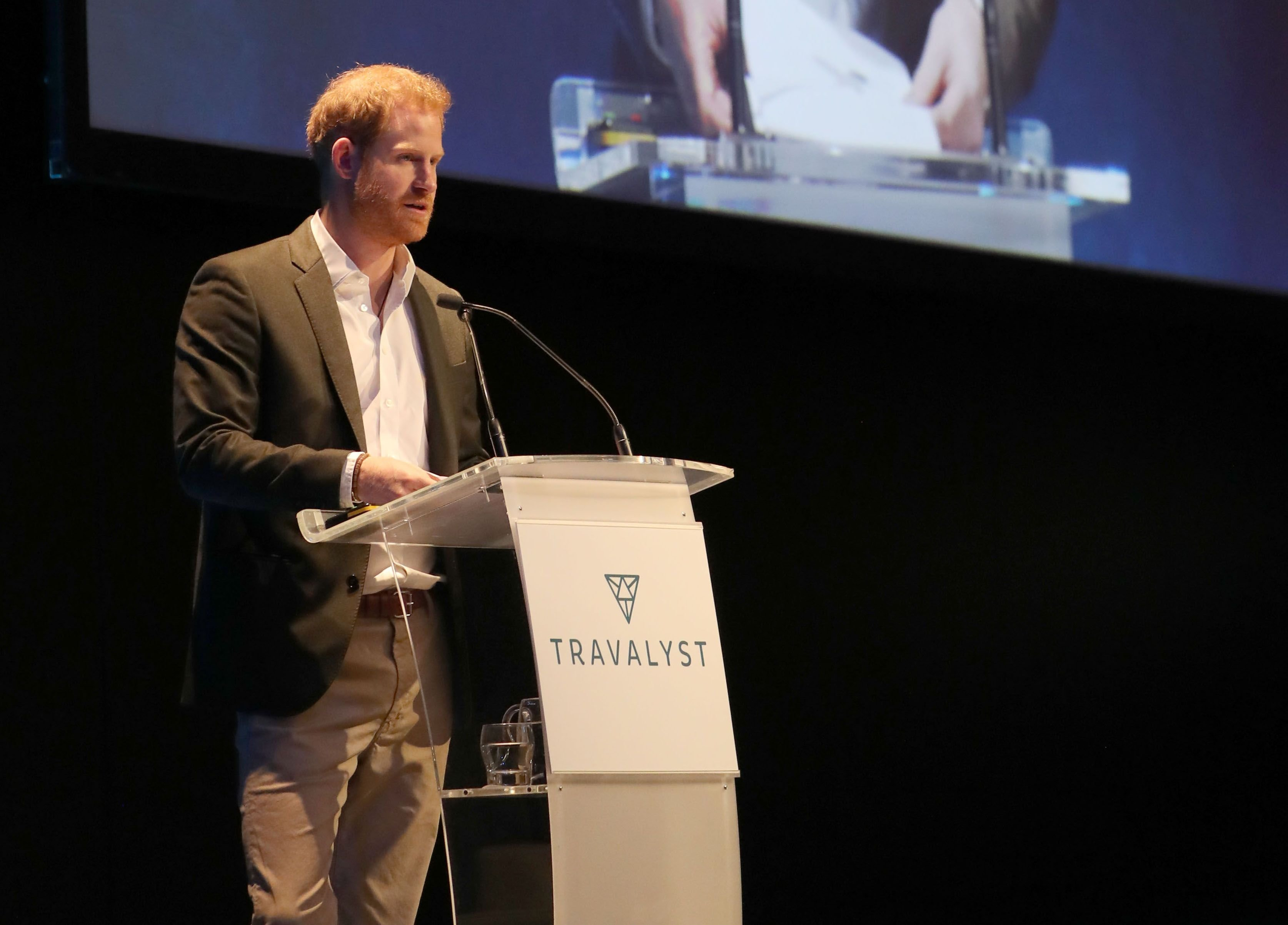 Prince Harry at a sustainable tourism summit at the Edinburgh International Conference Centre on February 26, 2020 | Getty Images