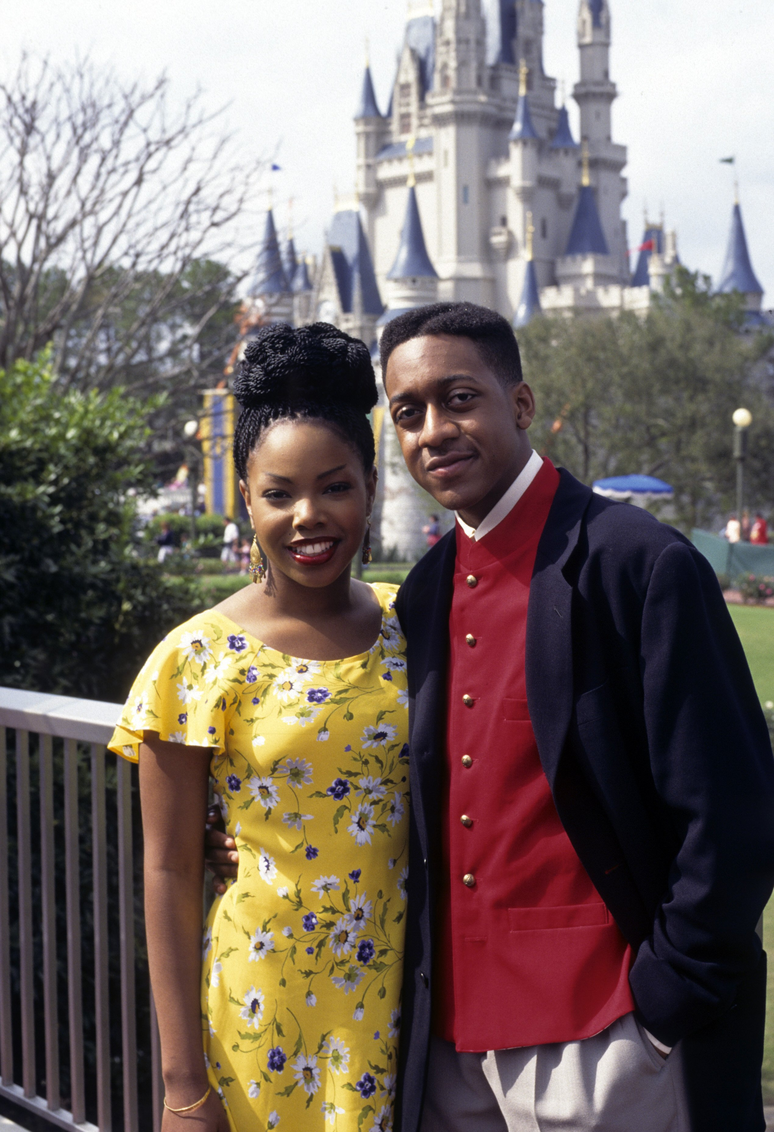 """Kellie S. Williams and Jaleel White on the set of """"We're Going to Disney World"""" that aired on April 28, 1995 
