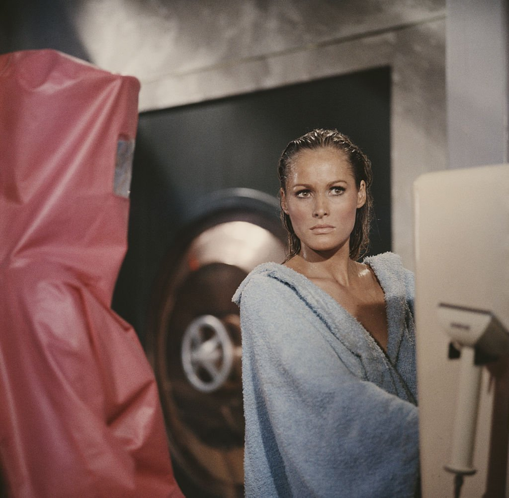 """Ursula Andress pictured in character as Honey Ryder in """"Dr. No"""" in 1962. 