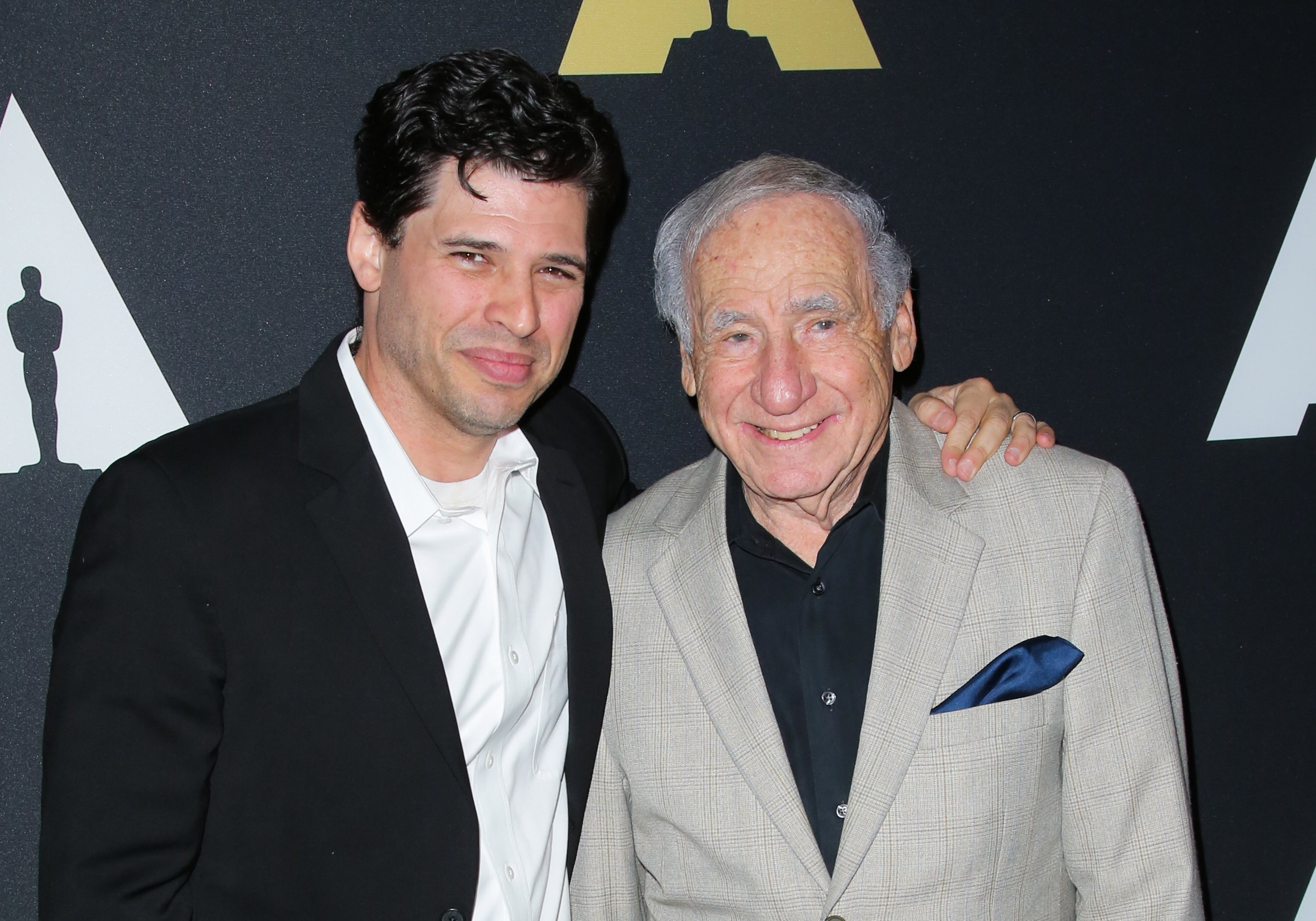 """Max and Mel Brooks at the 20th anniversary screening of """"The Shawshank Redemption"""" at the AMPAS Samuel Goldwyn Theater on November 18, 2014 in Beverly Hills, California. 