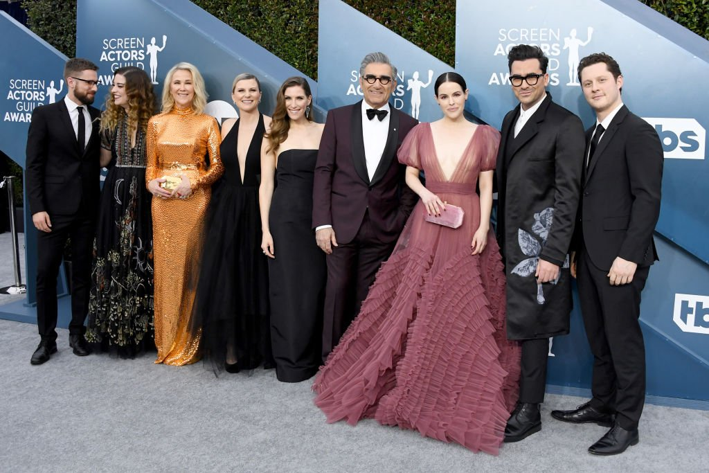 """The cast of """"Schitt's Creek"""" at the 26th Annual Screen ActorsGuild Awards at The Shrine Auditorium on January 19, 2020 in Los Angeles, California.   Photo: Getty Images:"""
