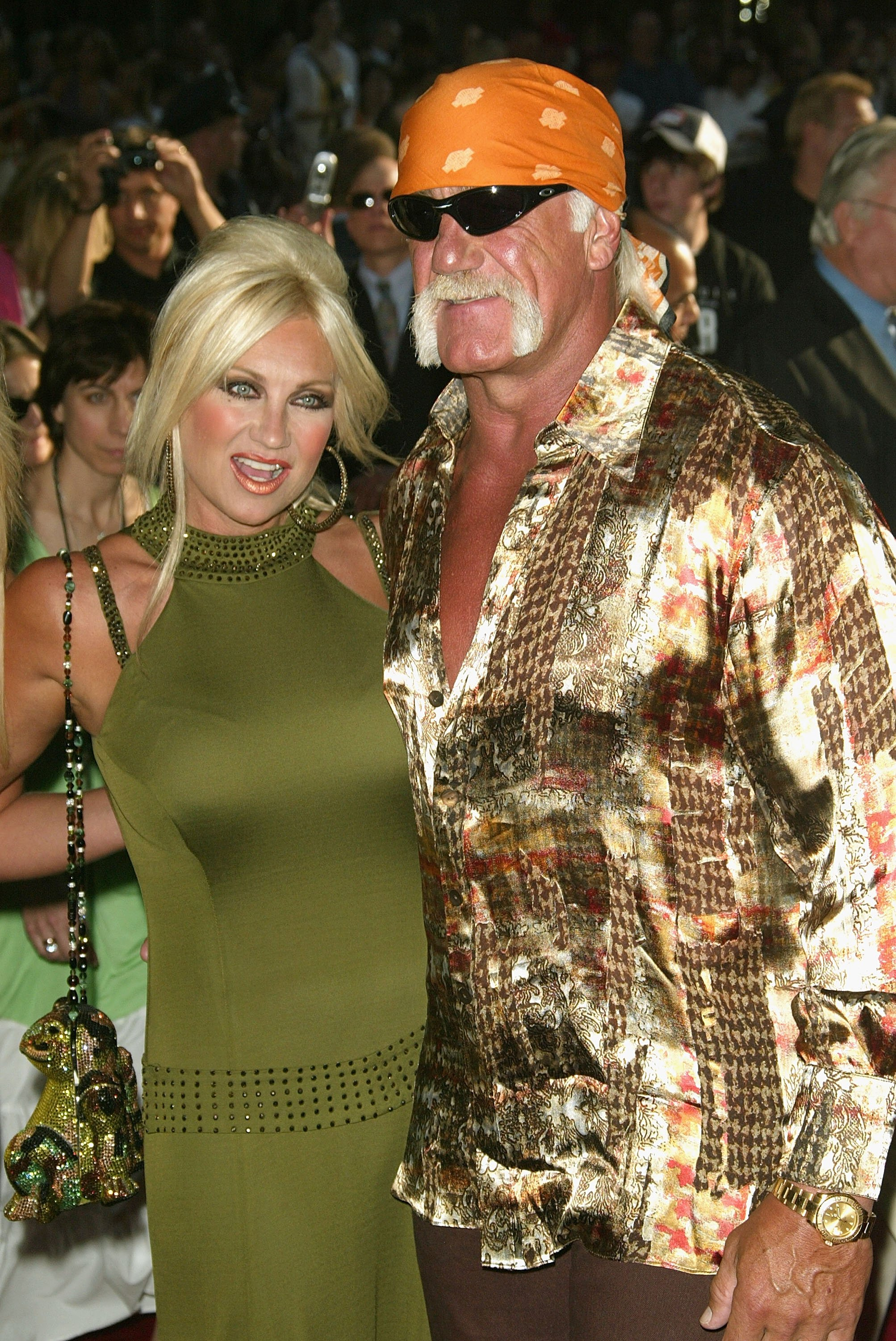 """Hulk Hogan and Linda Hogan attend the premiere of """"War Of The Worlds"""" on June 23, 2005, in New York City. 