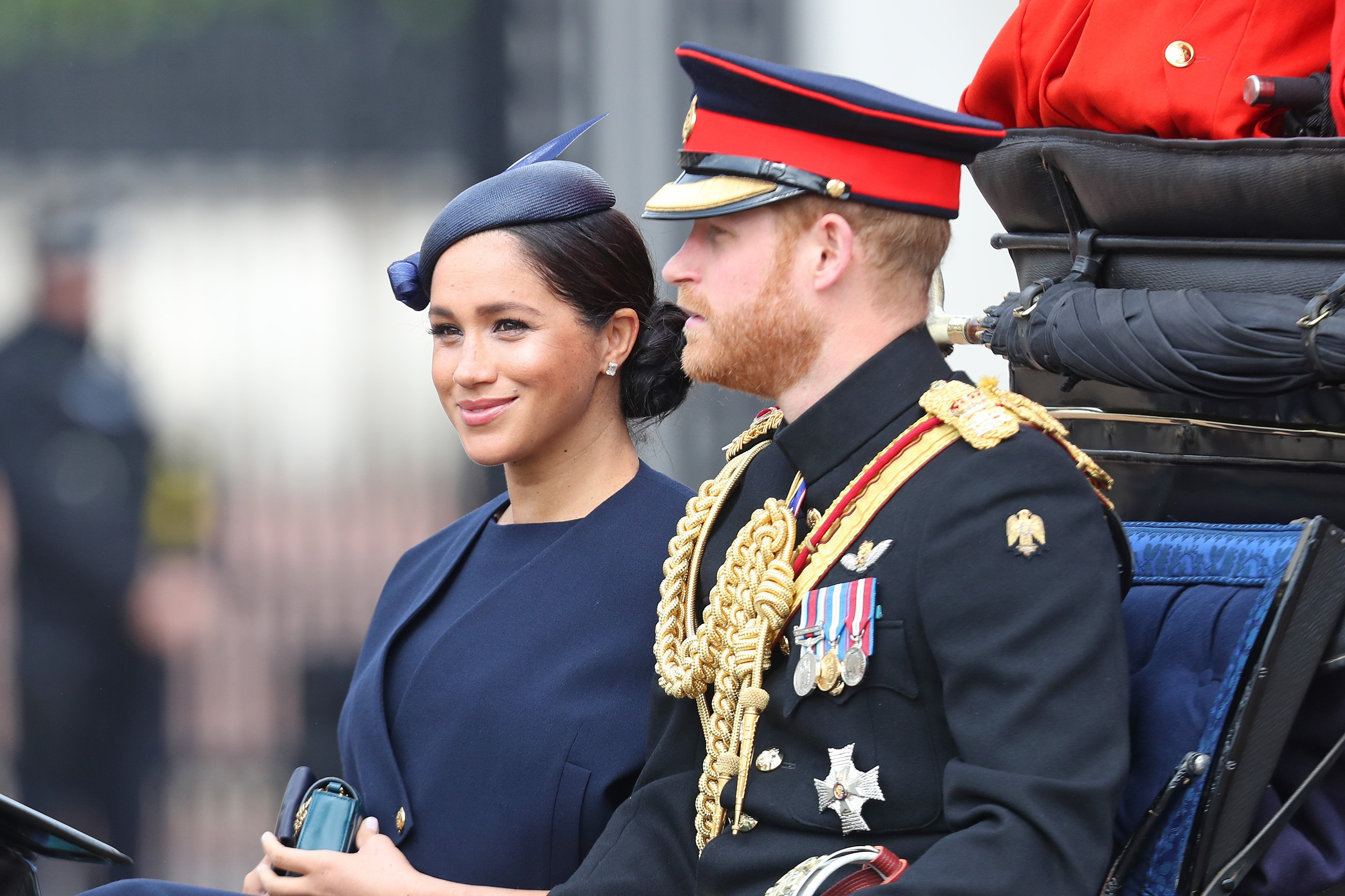 Meghan Markle and Prince Harry arriving at the Buckingham Palace for Trooping the Colour | Photo: Getty Images