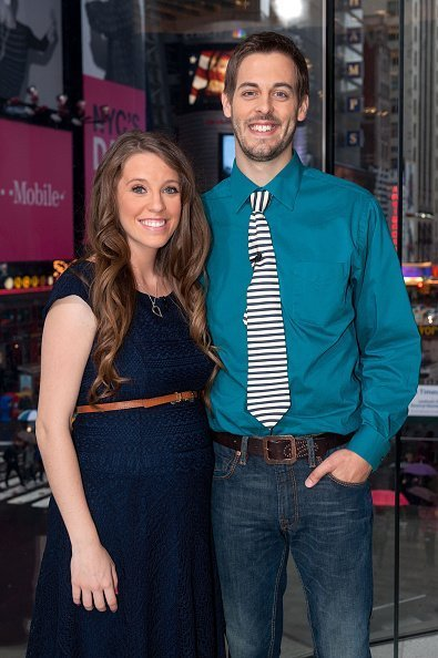 "Jill Duggar Dillard and husband Derick Dillard visit ""Extra"" at H&M in Times Square on October 23, 2014 