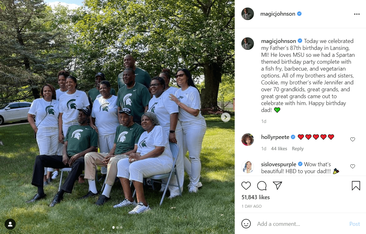 Magic Johnson takes a group picture to celebrate his dad's 70th birthday.   Instagram/Magicjohnson