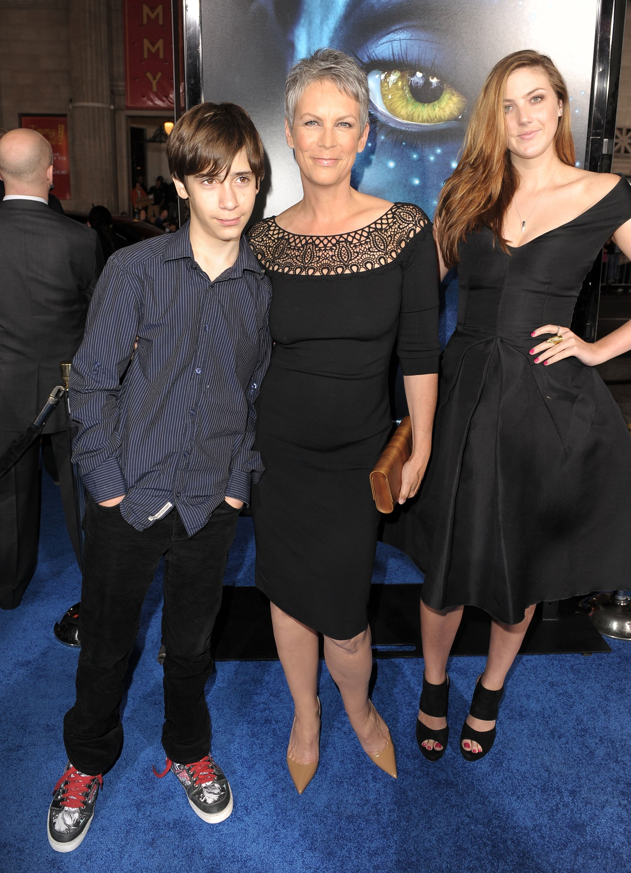 "Jamie Lee Curtis with her daughter Annie and son Thomas at the premiere of ""Avatar"" in Hollywood, California on December 16, 2009 