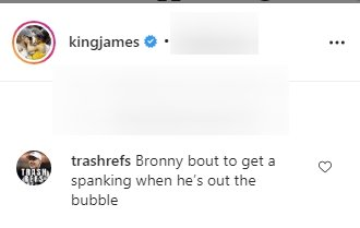 A comment on LeBron James' post about his son Bronny. | Photo: Instagram/kingjames