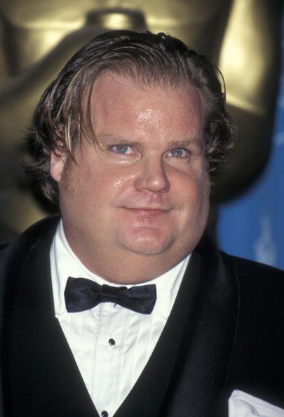Chris Farley on March 24, 1997 at the Shrine Auditorium in Los Angeles, California.   Photo: Getty Images