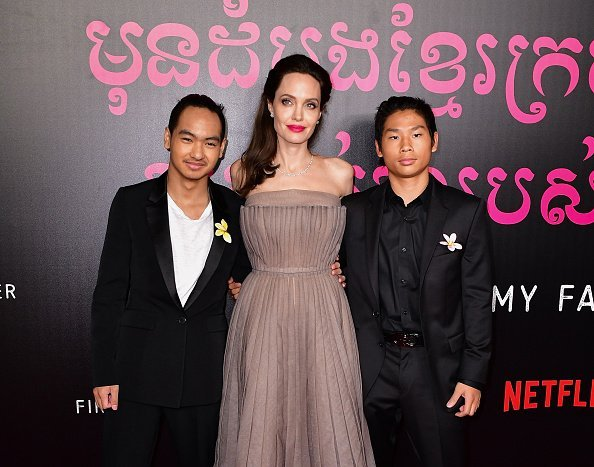 Angelina Jolie and her sons at the New York premiere of 'First They Killed My Father' | Photo: Getty Images