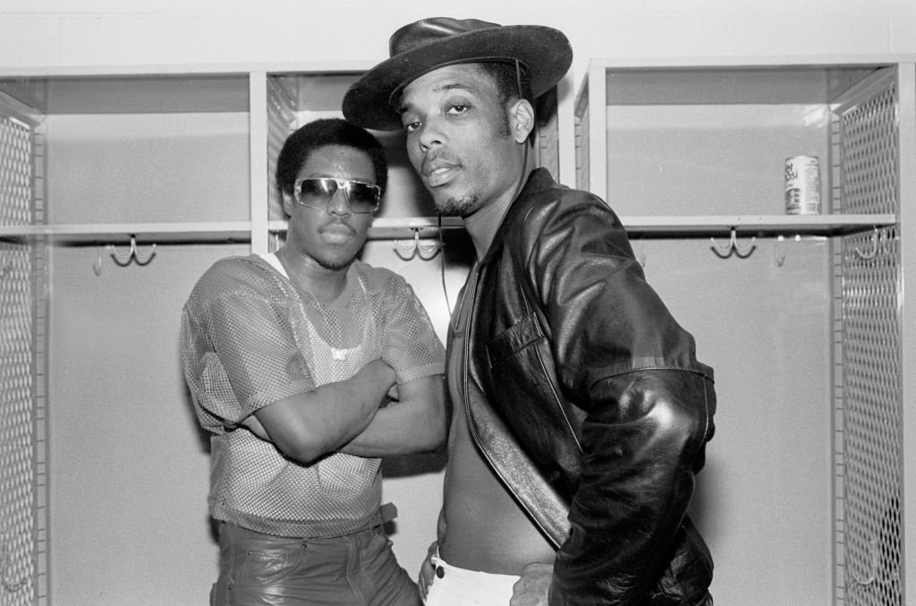 """Jalil Hutchins and John """"Ecstasy"""" Fletcher in a black hat posed backstage at the UIC Pavilion in Chicago, Illinois on October 20, 1984. 