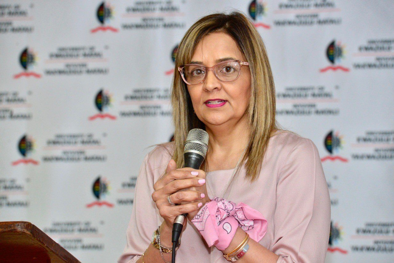 Mariam speaking at Cuppa for CANSA at the University of Kwa-Zulu Natal, 2019   Source: Dr. Mariam Seedat Khan