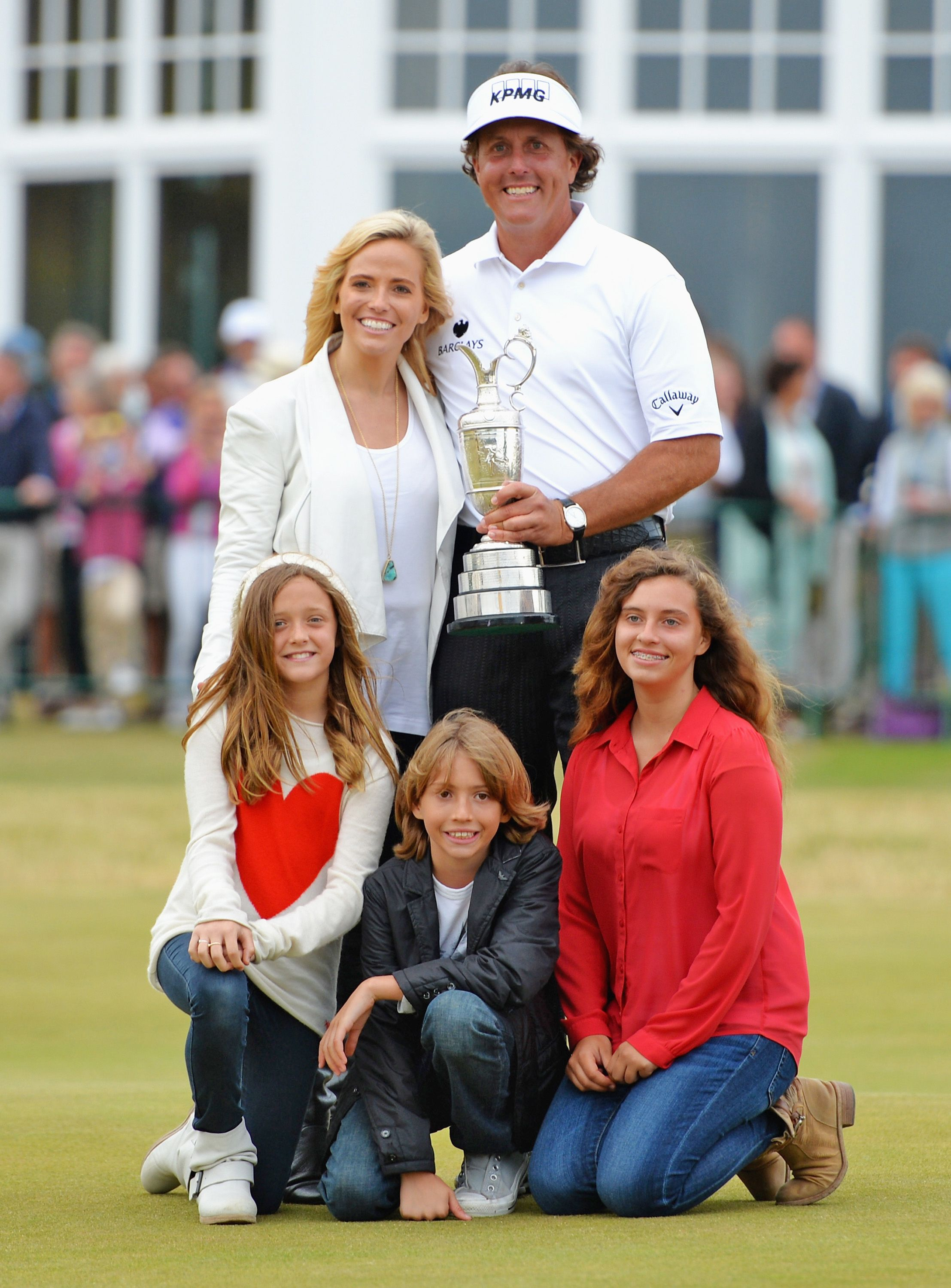 Phil Mickelson wife Amy and children Evan, Amanda and Sophia after winning the 142nd Open Championship in 2013 in Scotland | Source: Getty