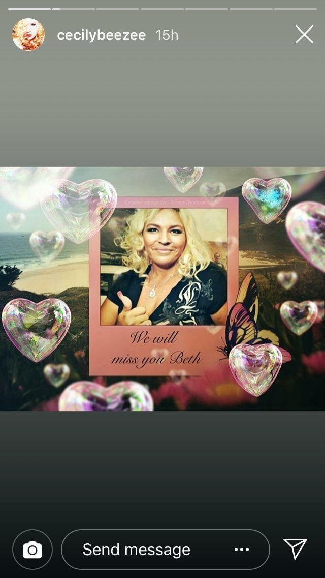 A dedication card for Beth Chapman | Photo: Instagram/cecilybeezee
