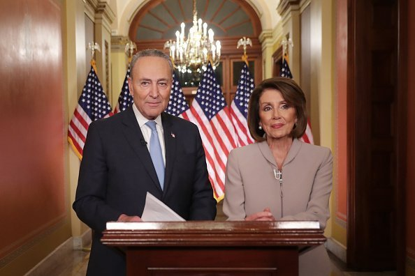 Nancy Pelosi and Charles Schumer deliver a televised response to President Donald Trump's national address about border security at the U.S. Capitol January 08, 2019 in Washington, DC. | Photo: Getty Images