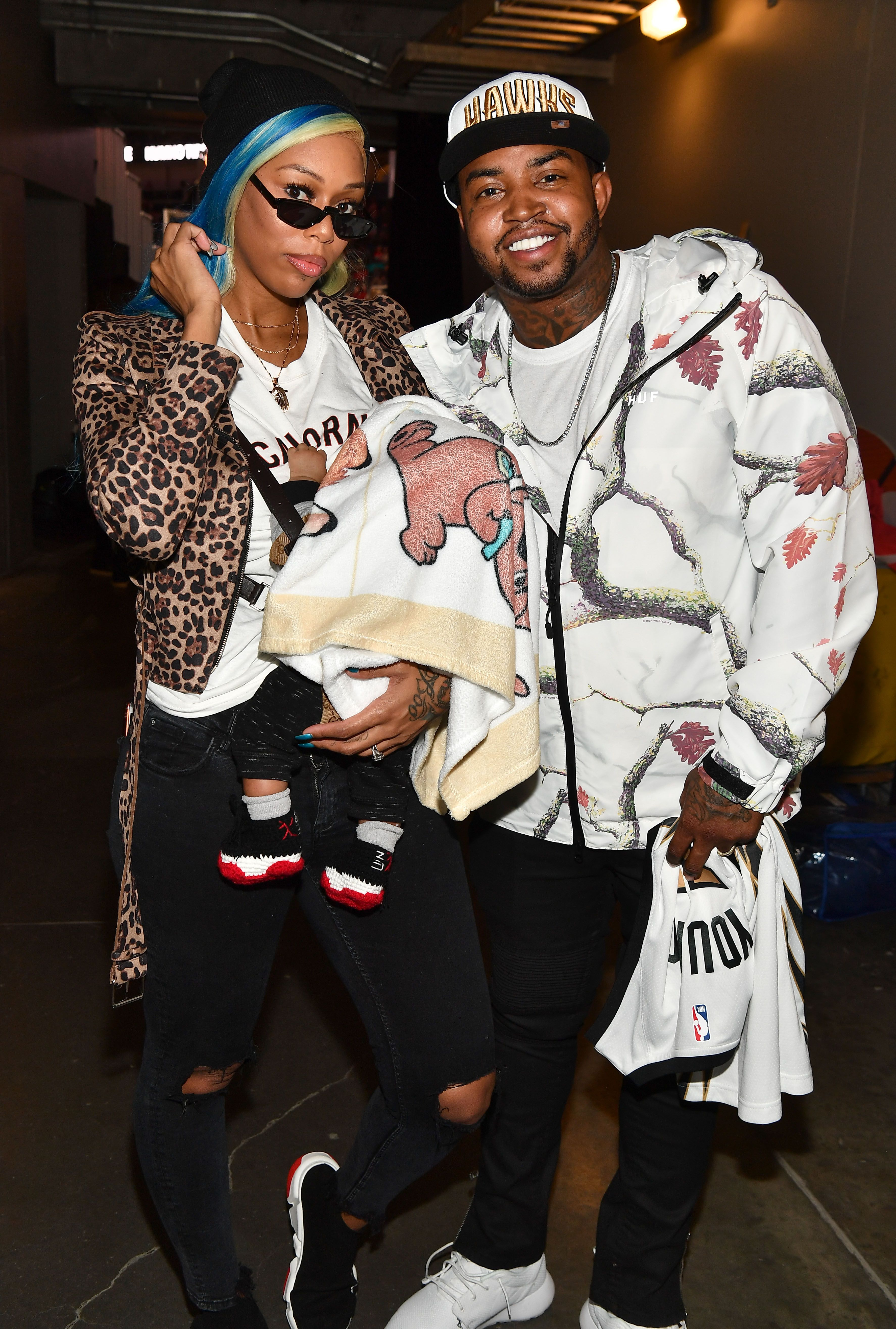 Bambi Benson and Lil Scrappy during the Detroit Pistons vs Atlanta Hawks Game at State Farm Arena on November 9, 2018 in Atlanta, Georgia.   Source: Getty Images