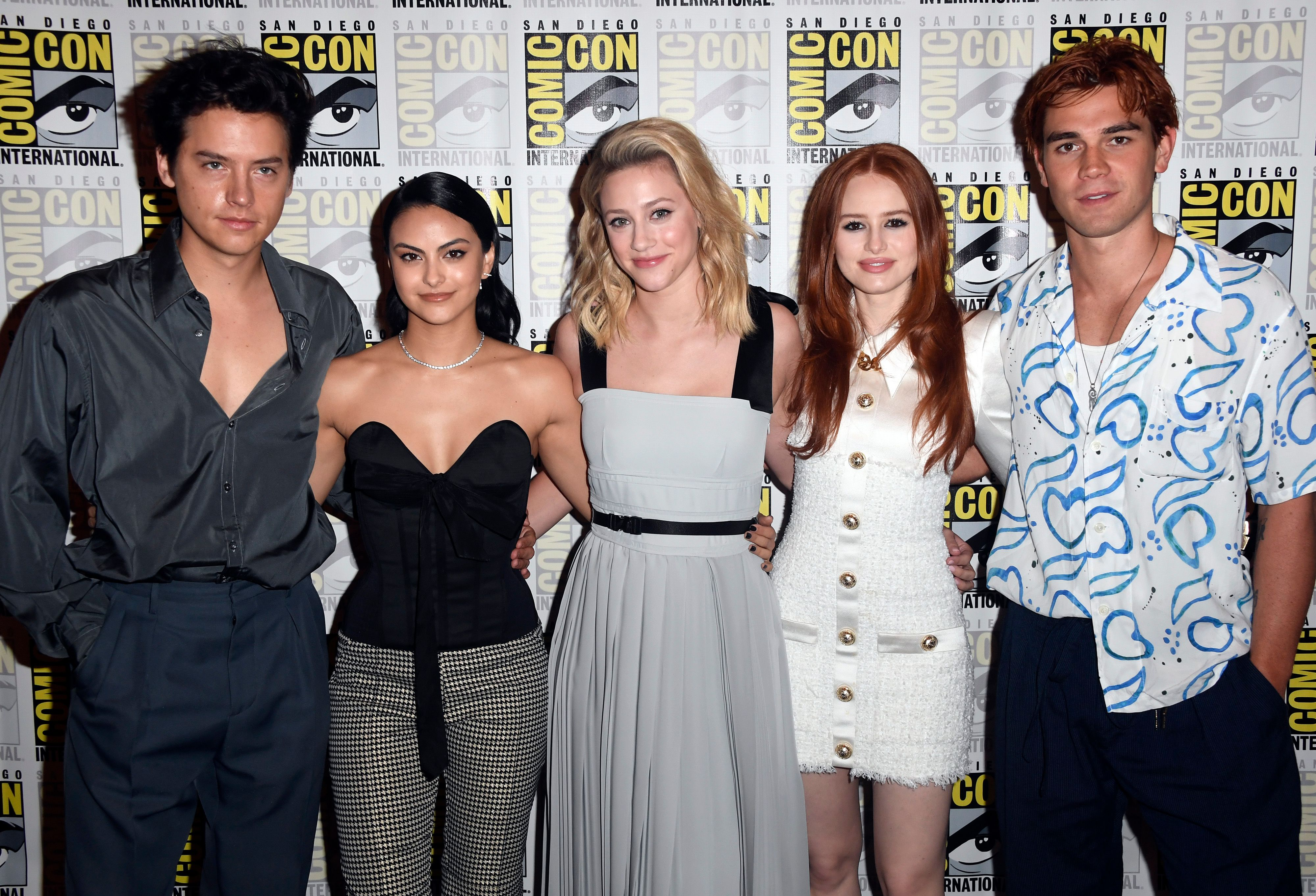 Cole Sprouse, Camila Mendes, Lili Reinhart, Madelaine Petsch, and K.J. Apa at the 2019 Comic-Con in San Diego California | Source: Getty Images