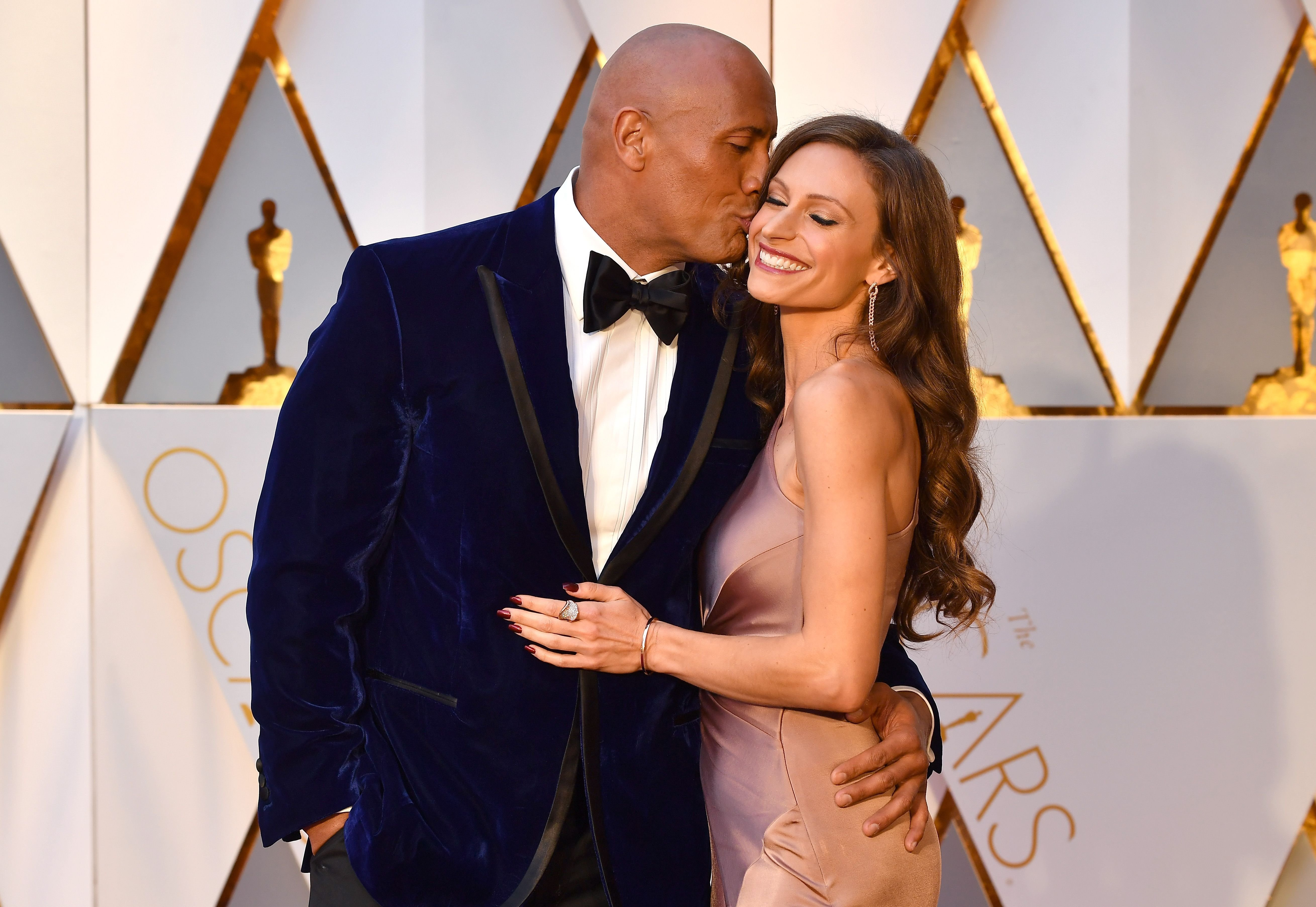 Dwayne Johnson and Lauren Hashian at the 89th Annual Academy Awards in Hollywood, California   Photo: Jeff Kravitz/FilmMagic/Getty Images