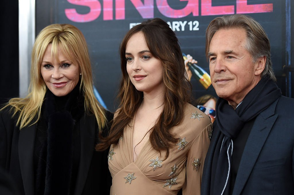 "Melanie Griffith, Dakota Johnson, and Don Johnson at the premiere of ""How To Be Single"" on February 3, 2016 