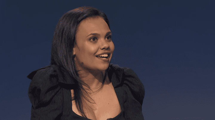 """Miranda Tapsell talking about """"Top End Wedding"""" in April 2019   Photo:YouTube/The Weekly"""