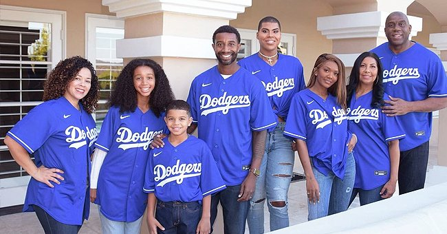 Magic & Cookie Johnson Pose in a Heartwarming Pic in Matching Dodgers T-Shirts with Their Kids