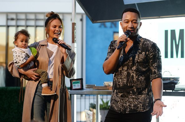 "Chrissy Teigen and John Legend attend the Impossible Foods Grocery Los Angeles Launch with ""Pepper Thai"" Teigen at Gelson's Westfield Century City 