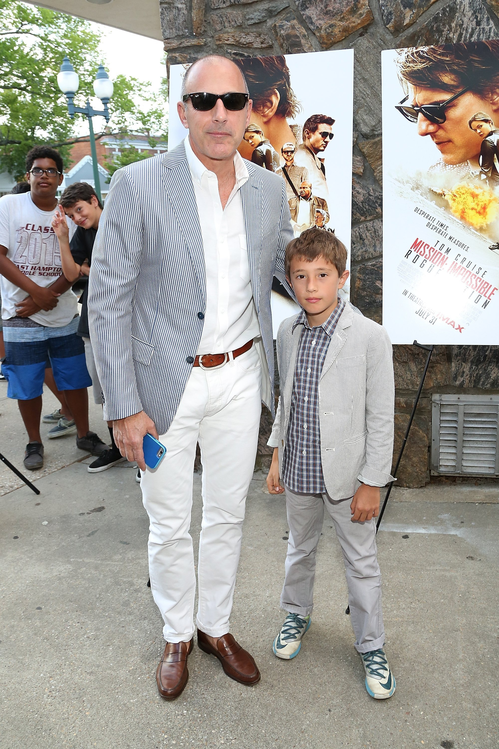 Matt Lauer and son Thijs Lauer at the Mission Impossible - Rogue Nation Special Screening on July 24, 2015 in East Hamptons   Photo: Getty Images