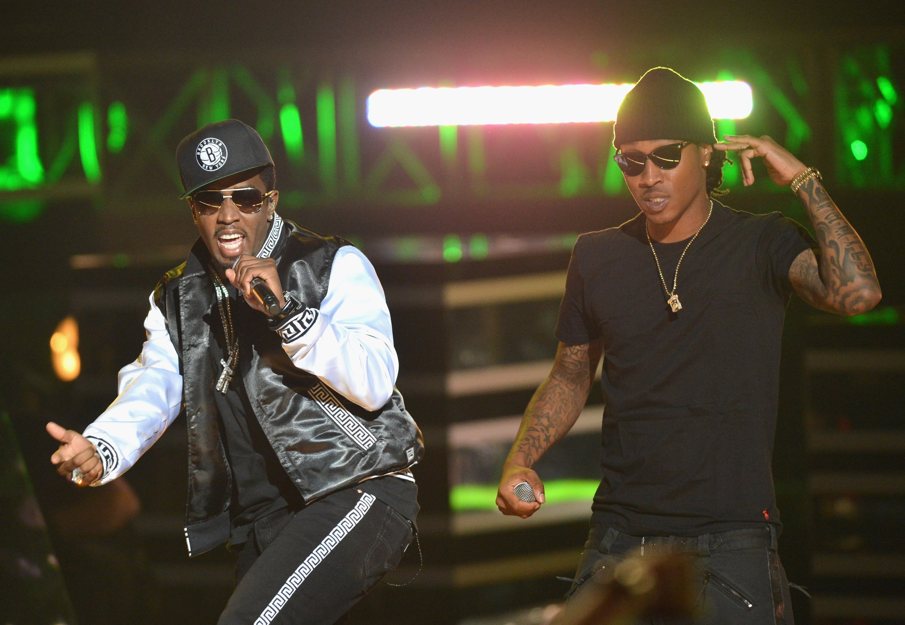 ATLANTA, GA - SEPTEMBER 29: Sean Combs, 'P. Diddy,' (L) and Future perform onstage at the 2012 BET Hip Hop Awards at Boisfeuillet Jones Atlanta Civic Center| Photos: Getty Images
