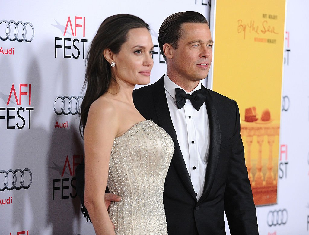 """Angelina Jolie and Brad Pitt at the premiere of """"By the Sea"""" at the 2015 AFI Fest, Los Angeles. 