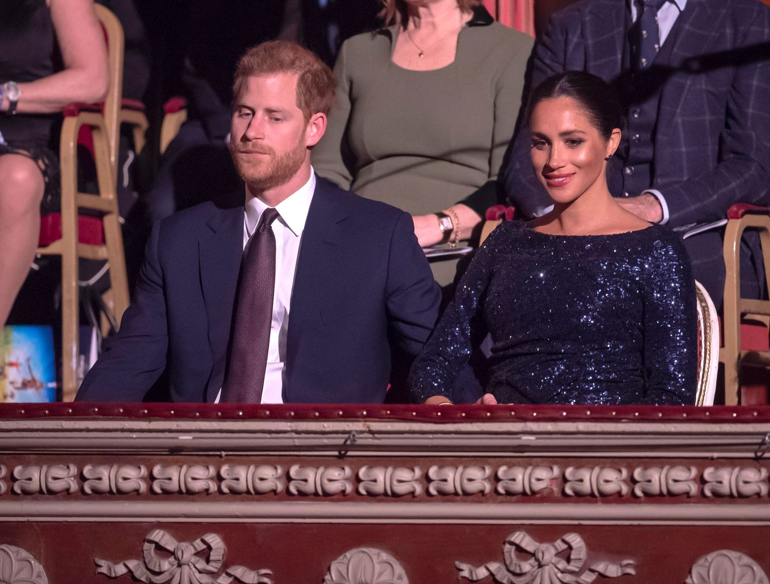"""Prince Harry and Meghan Markle at the Cirque du Soleil Premiere Of """"TOTEM"""" at Royal Albert Hall on January 16, 2019. 