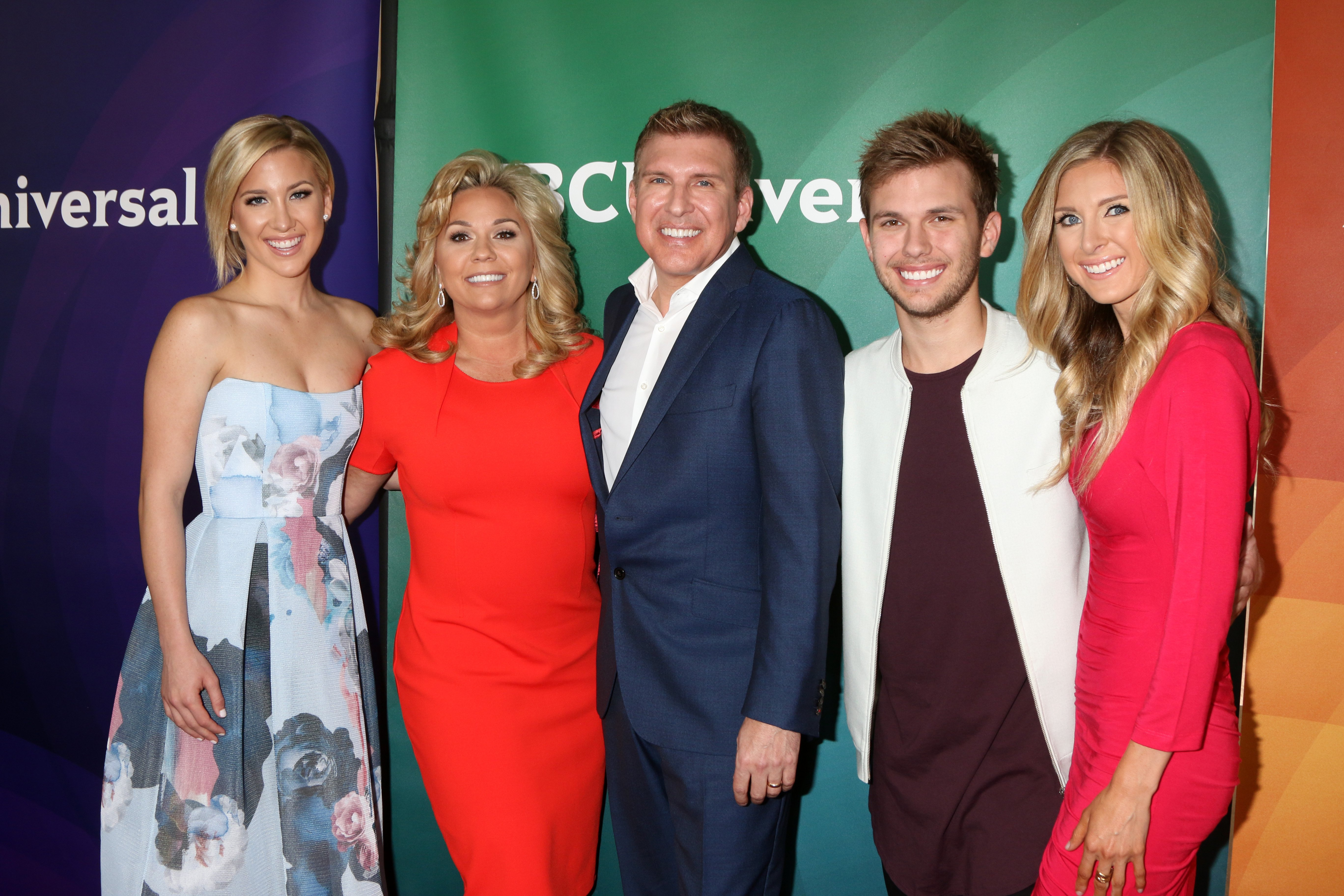 Savannah Chrisley, Todd Chrisley, Julie Chrisley, Chase Chrisley, and Lindsie Chrisley Campbell at the NBCUniversal Summer Press Day at the Four Seasons Hotel Westlake Village on April 1, 2016 in California | Photo: Getty Images