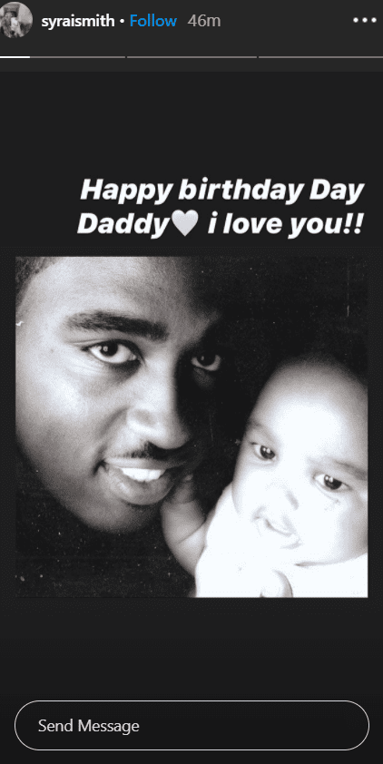"Sy'rai Smith posted a baby picture of herself with her father Robert ""Big Bert"" Smith. 