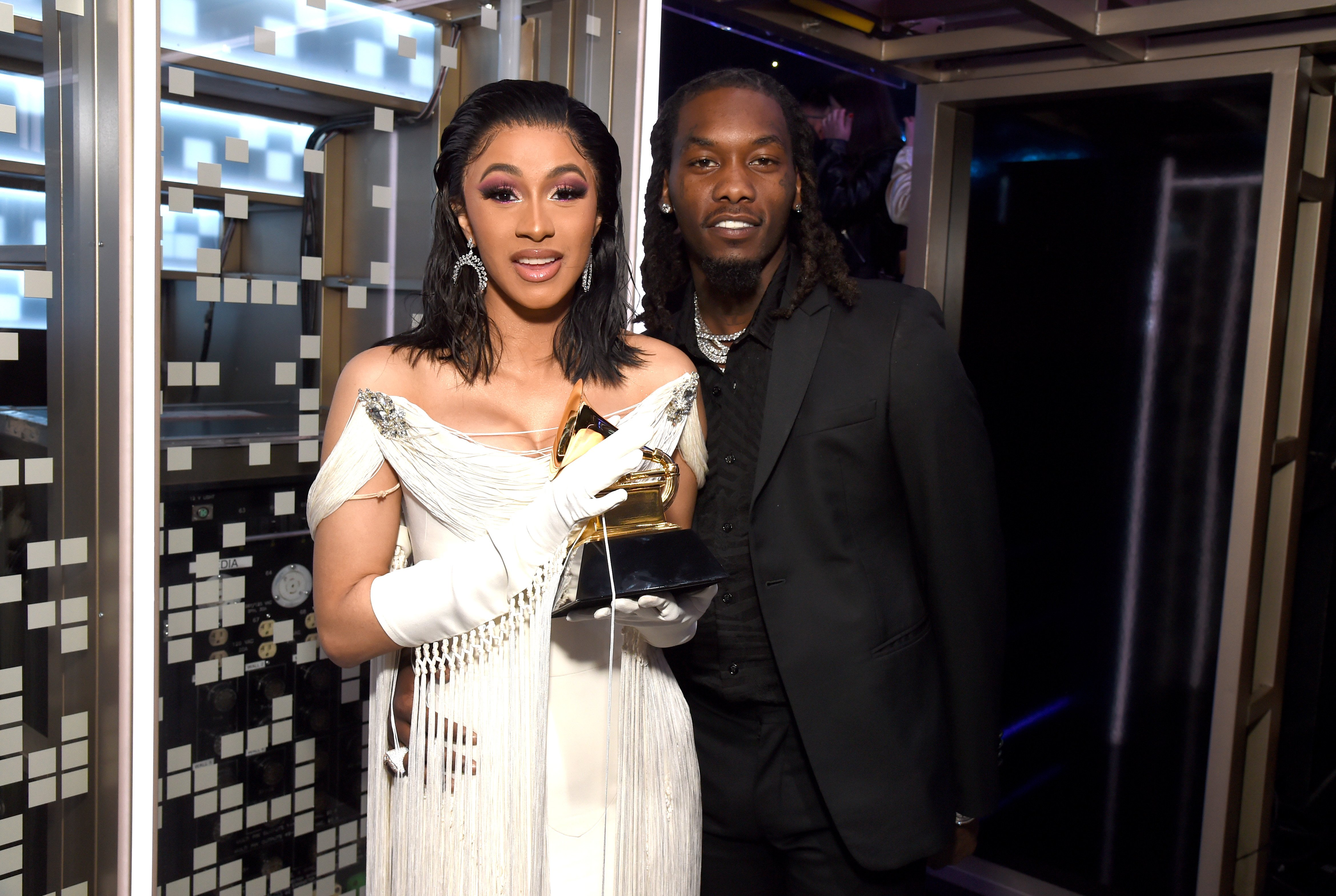 Cardi B and Offset pose backstage at the 61st Annual Grammy Awards, 2019 in Los Angeles, California | Source: Getty Images