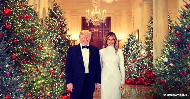 Donald Trump & wife praised for their looks & White House decorations in new Christmas photo