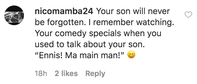 A fan commented on a tribute Bill Cosby shared in honor of his son Ennis Cosby, who was murdered | Source: Instagram.com/billcosby