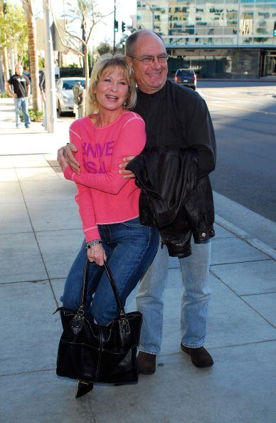 Dee Wallace and husband Skip Belyea arrive at the Super Bowl Bash in Beverly Hills, California.   Photo: Getty Images.
