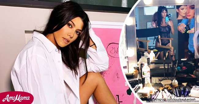 Kourtney Kardashian strips down to sheer lingerie revealing behind-the-scenes photos