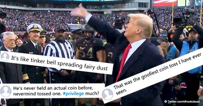 Donald Trump heavily dragged for reportedly not knowing how to toss a coin in viral video