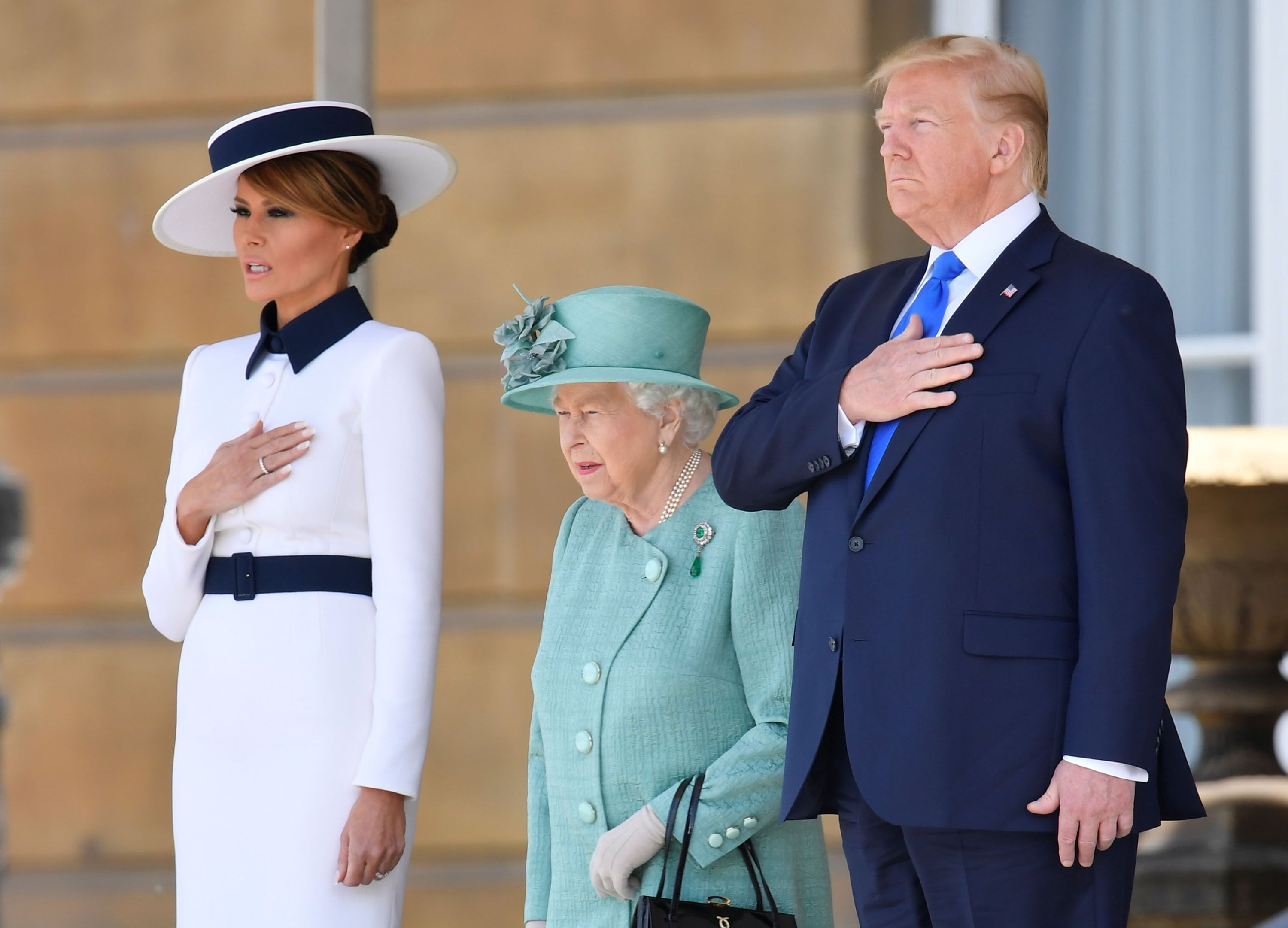 Melania Trump, Queen Elizabeth II and U.S. President Donald Trump at the Ceremonial Welcome in Buckingham Palace in 2019 | Source: Getty Images