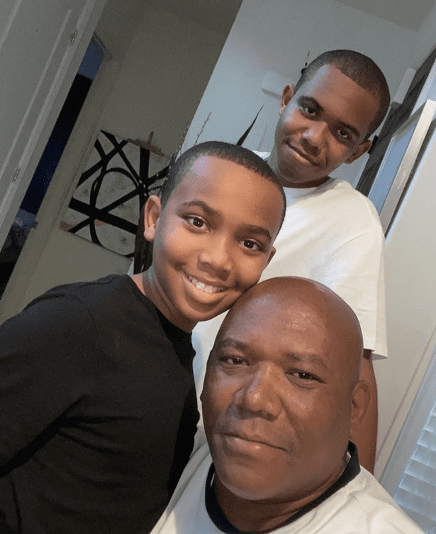 Photo of Tisha Campbell's two sons and her brother. | Source: Instagram/ tishacampbellmartin