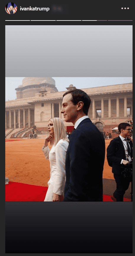 Ivanka Trump and Jared Kushner arrive ceremonial reception for President Donald Trump on January 25, 2019, at the Rashtrapati Bhavan, New Delhi |Source instrgam.com/invankatrump