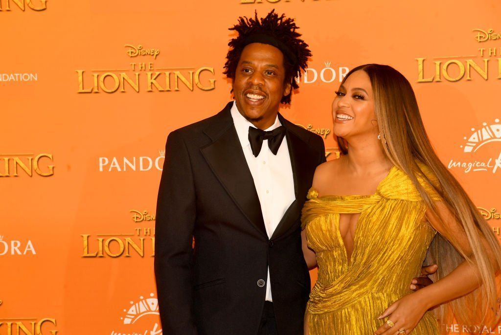 """Jay Z and Beyonce Knowles-Carter attend """"The Lion King"""" European Premiere at Leicester Square 