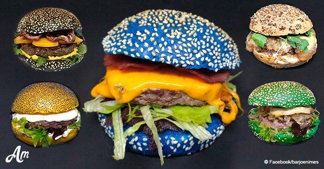 """Un """"pain bleu pour les peureux"""": un café français a créé le burger bleu le plus discuté"""