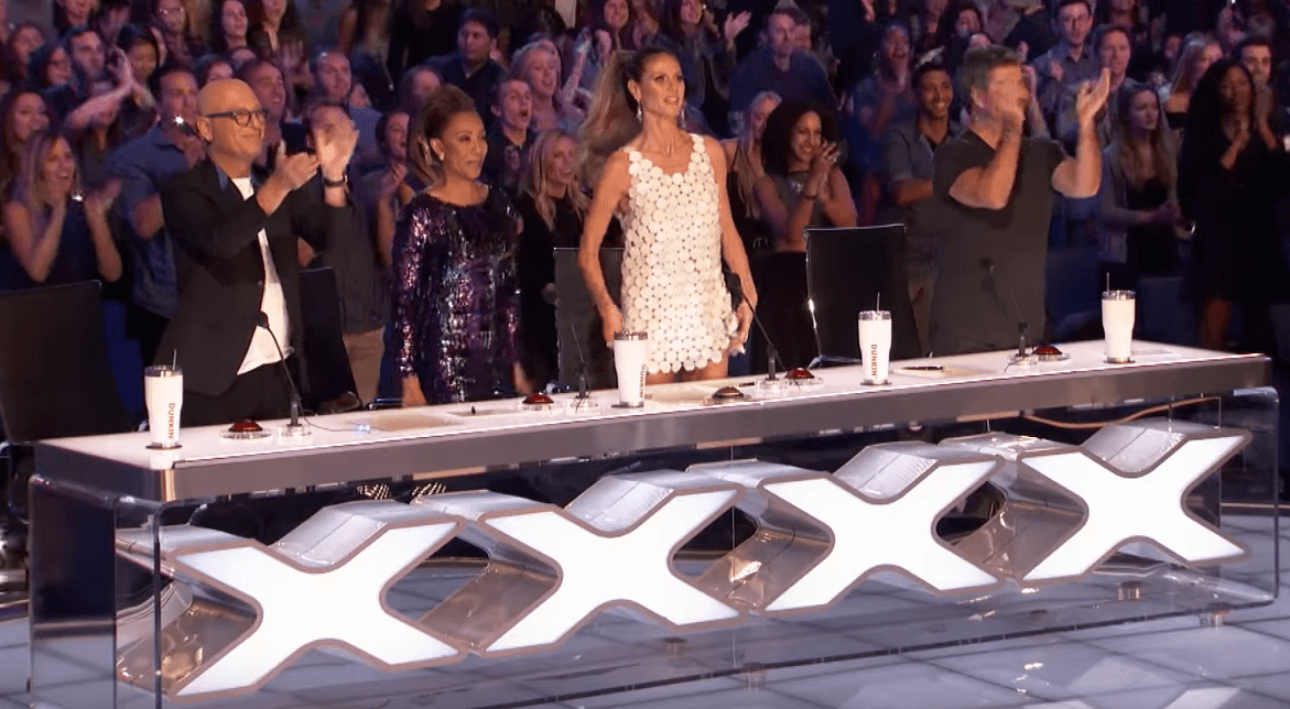Standing ovation from the audience and judges.   Photo: YouTube/America's Got Talent