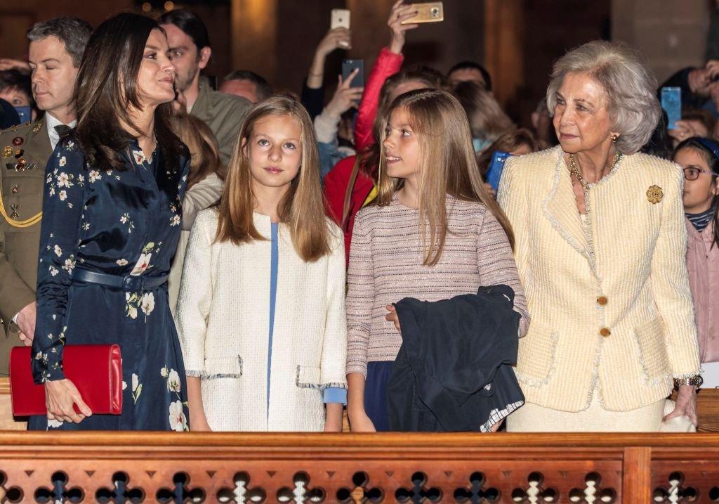La reina Letizia, princesa Leonor, Infanta Sofía y reina Sofía de España.  Fuente: Getty Images