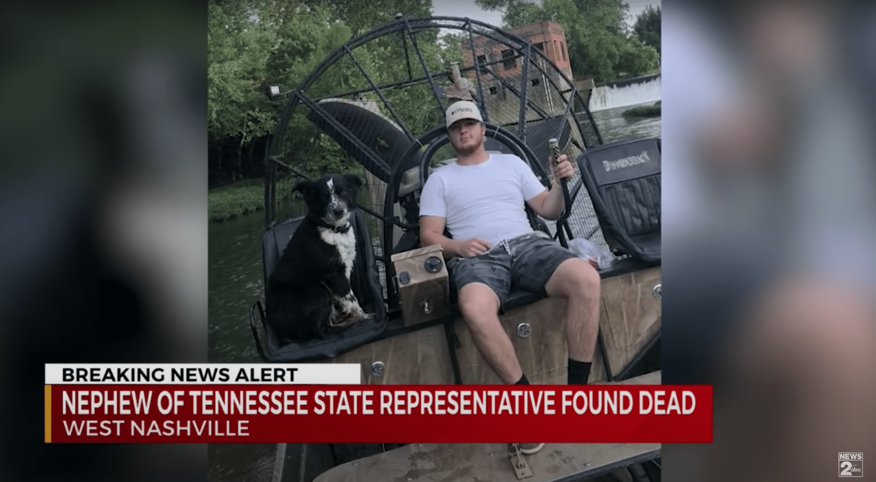 A man and his loyal canine companion sit next to a river prior to the dog owner's death | Photo: Youtube/WKRN News 2