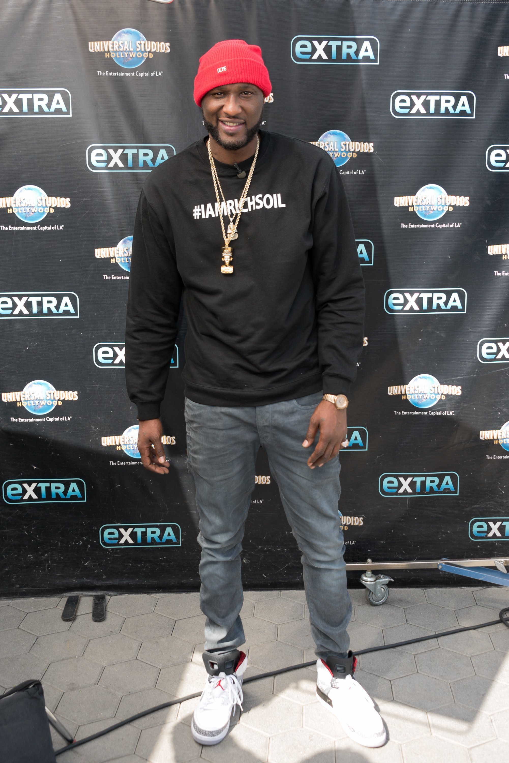 "Lamar Odom visit ""Extra"" at Universal Studios Hollywood on Feb. 22, 2018 in California. 