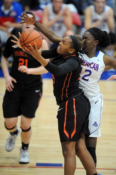 Leslie Robinson #45 of the Princeton Tigers with the ball during a women's college basketball game against the American University Eagles at Bender Arena on November 23, 2014 in Washington, DC. | Source: Getty Images.